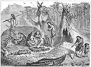 Shell Mound People or Kitchen-Middeners. Late Mesolithic-early Neolithic 4,000-2,000 BC. North and South Europe, Iberia, North Africa, North & South America similar patterns found. Artist's impression c188. Engraving .
