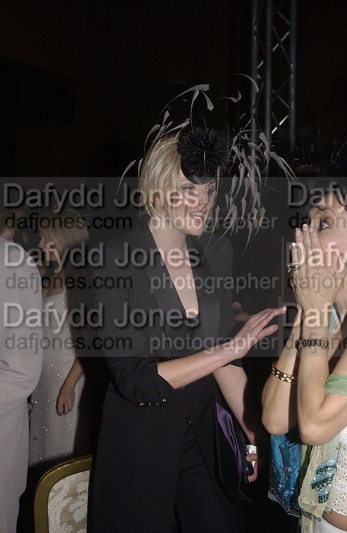 Sophie Dahl and Anna Previn. Moet and Chandon fashion tribute to Philip treacy. V. & a. 16 April 2002. © Copyright Photograph by Dafydd Jones 66 Stockwell Park Rd. London SW9 0DA Tel 020 7733 0108 www.dafjones.com