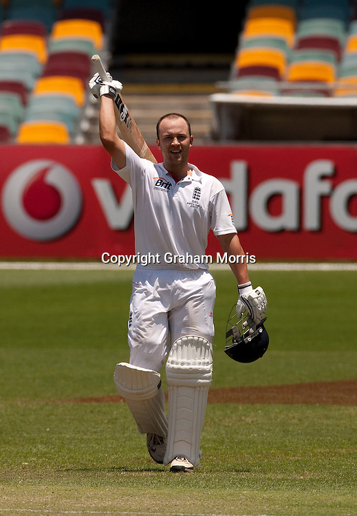 Jonathan Trott celebrates his century during the first Ashes Test Match between Australia and England at the Gabba, Brisbane. Photo: Graham Morris (Tel: +44(0)20 8969 4192 Email: sales@cricketpix.com) 29/11/10