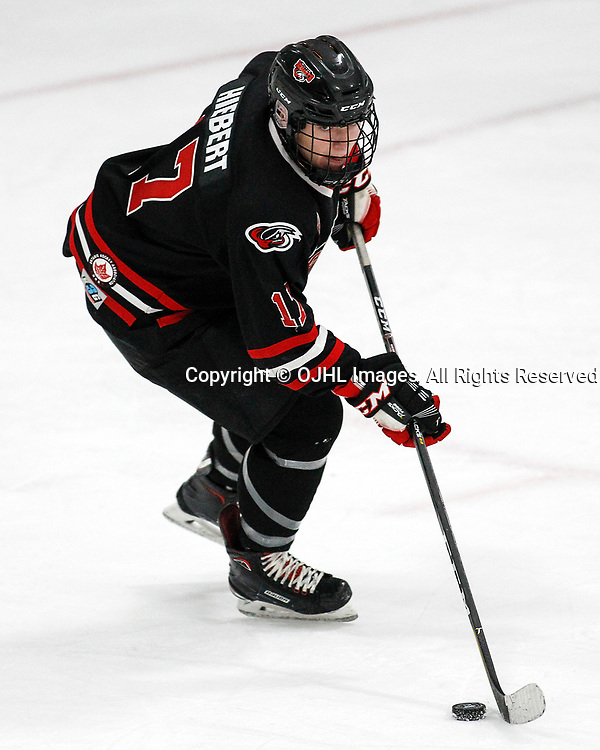 MILTON, ON  - NOV 3,  2017: Ontario Junior Hockey League game between the North York Rangers and the Milton IceHawks, Clark Hiebert #17 of the Milton Icehawks.<br /> (Photo by Brian Watts / OJHL Images)
