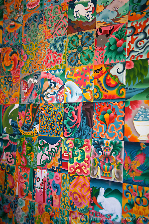 Asia, Bhutan, Thimpu. Bhutanese Thangka Puzzle Painting.