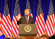 Photo &copy;Suzi Altman 12/9/17 Jackson,MS    Trump spoke to a small private group of civil rights icons, museums directors, and other elected officials including MS. Governor Phil Bryant in the auditorium after his brief tour of the museum. Trump said &quot;the Civil Rights Museum is a tribute to our nation and to the State of Mississippi &quot; and he paid tribute to other leaders of the civil rights movement including James Meredith and Medgar Evers . Trumps appearance was controversial to many residents of the state of Mississippi and protests were scattered around the museums exterior.   Myrlie Evers- William widow of slain civil rights icon Medgar Evers attended the opening of the Mississippi Civiil Rights and History Museums. Evers spoke to the crowd outside after President Trump made private remarks inside to a closed audience of invited guests and press only. <br />  Right before the ribbon cutting ceremony outside on the podium Mrs Evers said &quot; These museums are priceless, going through the museum of my history I felt the bullets and the fears, but I also felt the hope.&quot; President Trump had a very short private tour of the Civil Rights Museum and did not mingle outside or stop to talk with any visitors to the new Civil Rights  museum. Photo&copy;SuziAltman