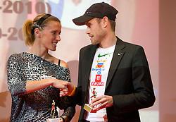Sonja Roman and  Bostjan Buc during the Slovenia's Athlete of the year award ceremony by Slovenian Athletics Federation AZS, on November 12, 2008 in Hotel Mons, Ljubljana, Slovenia.(Photo By Vid Ponikvar / Sportida.com) , on November 12, 2010.