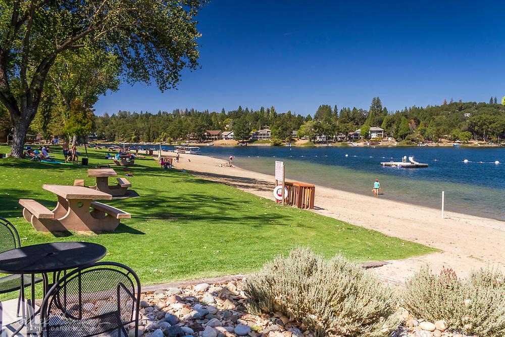 The main beach at Pine Mountain Lake, near Groveland, California, on Hihway 120