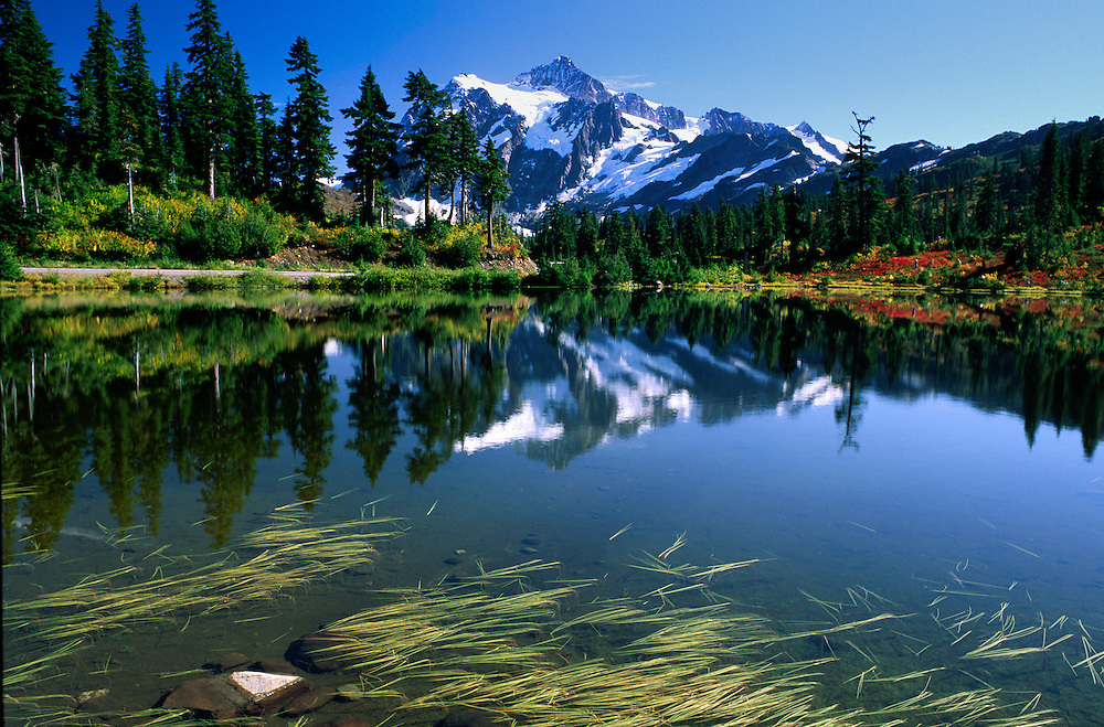Mt. Shuksan and Picture Lake at Heather Meadows, Mt. Baker-Snoqualmie National Forest, Washington, US