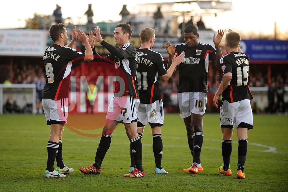 Bristol City's Sam Baldock celebrates with his team mates after scoring. - Photo mandatory by-line: Dougie Allward/JMP - Tel: Mobile: 07966 386802 08/12/2013 - SPORT - Football - Tamworth - The Lamb Ground - Tamworth v Bristol City - FA Cup - Second Round