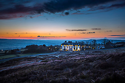© Licensed to London News Pictures. 03/04/2019. Ilkley UK. The Cow & Calf pub on Ilkey moor at Dawn this morning in Yorkshire. Photo credit: Andrew McCaren/LNP