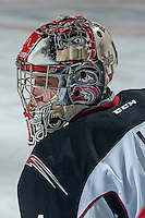 KELOWNA, CANADA - OCTOBER 1: Payton Lee #1 of Vancouver Giants stands in net during warm up against the Kelowna Rockets on October 1, 2014 at Prospera Place in Kelowna, British Columbia, Canada.   (Photo by Marissa Baecker/Shoot the Breeze)  *** Local Caption *** Payton Lee;