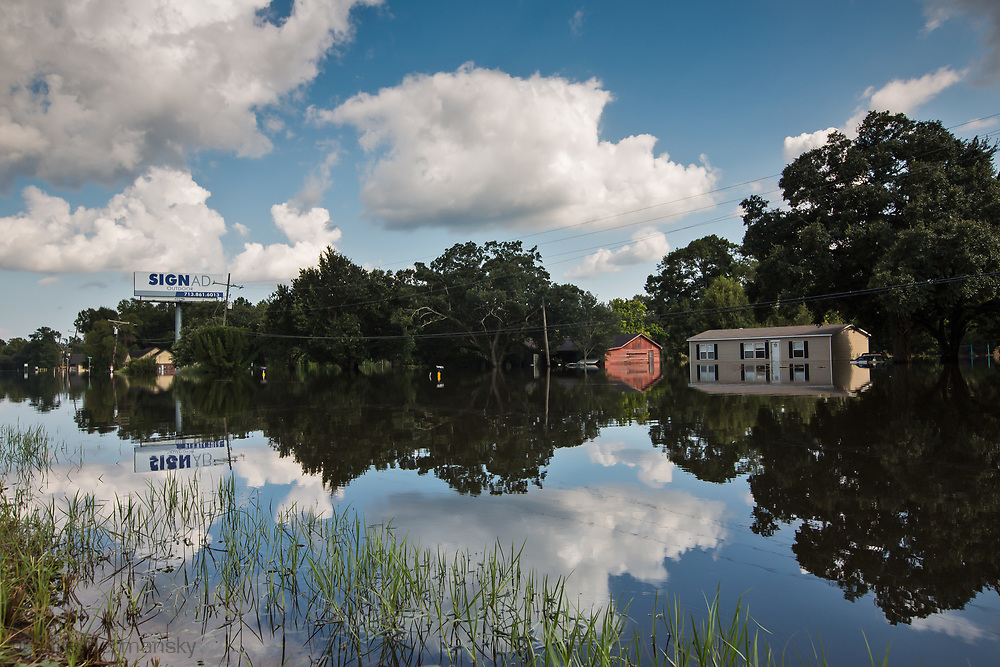 Sept 1, 2017 Flooded home off Interstate 10 near Vidor, Texas. Hurricane Harvey, was downgraded to a tropical storm when it flooded Vidor, Texas and the sourounding area.