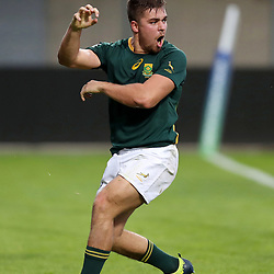 Zak Burger of South Africa celebrates scoring a try during the U20 World Championship match between South Africa and Georgia on May 30, 2018 in Perpignan, France. (Photo by Manuel Blondeau/Icon Sport)