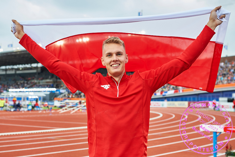 Amsterdam, Netherlands - 2016 July 08: Robert Sobera (KS AZS AWF Wroclaw) from Poland celebrates his gold medal in men&rsquo;s pole vault during European Championships Athletics 2016 at Olympic Stadium on July 08, 2016 in Amsterdam, Netherlands.<br /> <br /> Adam Nurkiewicz declares that he has no rights to the image of people at the photographs of his authorship.<br /> <br /> Picture also available in RAW (NEF) or TIFF format on special request.<br /> <br /> Any editorial, commercial or promotional use requires written permission from the author of image.<br /> <br /> Mandatory credit:<br /> Photo by &copy; Adam Nurkiewicz