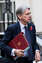 © Licensed to London News Pictures. 02/11/2016. London, UK.  Philip Hammond, Chancellor of the Exchequer arrives at Downing Street, ahead of President of Colombia, Juan Manuel Santos Calderón's arrival for talks with Prime Minister, Theresa May. Photo credit : Stephen Chung/LNP