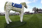 A beautiful floral display of a grey horse stands proud in the middle of the Parade Ring during the Newby and the Press Family Raceday at York Racecourse, York, United Kingdom on 9 September 2018. Picture by Mick Atkins.