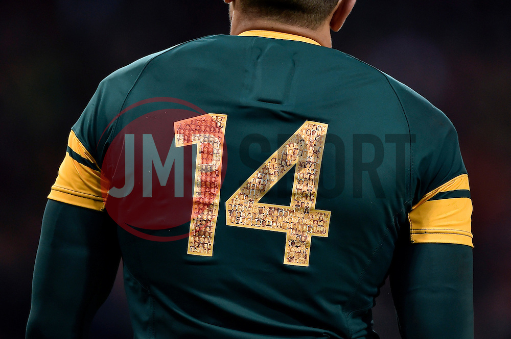 A general view of supporter photos decorating the back of Bryan Habana of South Africa's match jersey - Mandatory byline: Patrick Khachfe/JMP - 07966 386802 - 07/10/2015 - RUGBY UNION - The Stadium, Queen Elizabeth Olympic Park - London, England - South Africa v USA - Rugby World Cup 2015 Pool B.