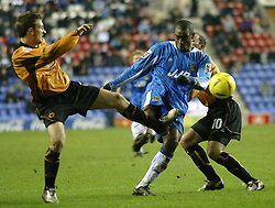 WIGAN, ENGLAND - Tuesday, January 4, 2005: Wigan's Nathan Ellington in action against Wolverha,pton Wanderers during the League Championship match at the JJB Stadium. (Pic By Dave Kendall/Propaganda)
