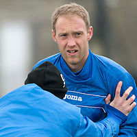 St Johnstone Training....21.03.14<br /> Steven Anderson pictured in training this morning ahead of tomorrow's game against Hibs<br /> Picture by Graeme Hart.<br /> Copyright Perthshire Picture Agency<br /> Tel: 01738 623350  Mobile: 07990 594431