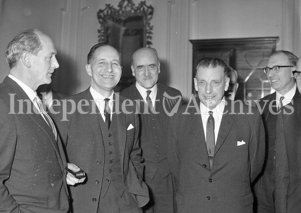 Jack Lynch, Se&aacute;n Lemass and Sir Terence O'Neill.<br /> Terence Marne O'Neill, Baron O'Neill of the Maine,(10 September 1914 &ndash; 12 June 1990) was the fourth Prime Minister of Northern Ireland and leader of the Ulster Unionist Party (1963&ndash;1970). He was Member of the Parliament of Northern Ireland for the Bannside constituency from 1946 until his resignation in 1970; his successor was Ian Paisley.<br /> (Part of the Independent Newspapers Ireland/NLI Collection)