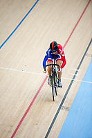 London, England, 12-02-18. Victoria Pendleton (GBR) competes in the Women's Sprint at the UCI World Cup, Track Cycling, Olympic Velodrome, London. Part of the London Prepares Olympic preparations.
