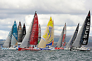 Adrien HARDY (AGIR Recouvrement), Nicolas LUNVEN (GENERALI), Charlie DALIN (MACIF), Xavier MACAIRE (GROUPE SNEF) during the start of the Douarnenez Fastnet Solo 2017 on September 17, 2017 in Douarnenez, France - Photo Francois Van Malleghem / ProSportsImages / DPPI