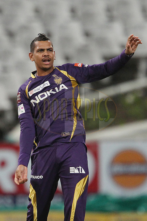Sunil Narine celebrates the wicket of Anaru Kitchen during match 5 of the Karbonn Smart CLT20 South Africa between The Kolkata Knight Riders and The Auckland Aces held at Newlands Stadium in Cape Town, South Africa on the 15th October 2012..Photo by Ron Gaunt/SPORTZPICS/CLT20