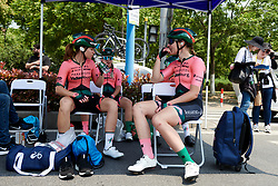 Parkhotel Valkenburg wait in the shade for the start of Tour of Chongming Island 2019 - Stage 2, a 126.6 km road race from Changxing Island to Chongming Island, China on May 10, 2019. Photo by Sean Robinson/velofocus.com