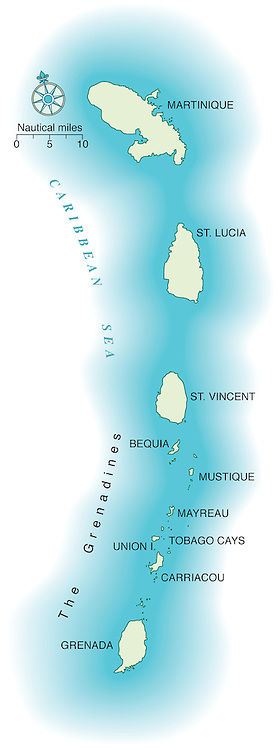 Vector map of the Windward Islands of the Caribbean