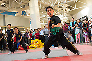 KungFu Dragon USA student Preston Chiu, 8, performs during the Lunar New Year Dragon dance at the Great Mall of the Bay Area in Milpitas, California, on February 21, 2015. (Stan Olszewski/SOSKIphoto)