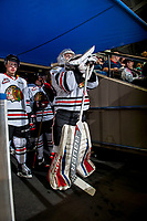 KELOWNA, CANADA - OCTOBER 21: Shane Farkas #1 of the Portland Winterhawks stand in the tunnel against the Kelowna Rockets on October 21, 2017 at Prospera Place in Kelowna, British Columbia, Canada.  (Photo by Marissa Baecker/Shoot the Breeze)  *** Local Caption ***