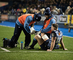 Cardiff Blues' Owen Lane receives attention <br /> <br /> Photographer Simon King/Replay Images<br /> <br /> Guinness Pro14 Round 9 - Cardiff Blues v Connacht Rugby - Friday 24th November 2017 - Cardiff Arms Park - Cardiff<br /> <br /> World Copyright © 2017 Replay Images. All rights reserved. info@replayimages.co.uk - www.replayimages.co.uk