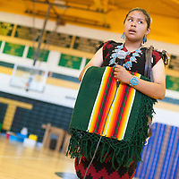 050113       Brian Leddy<br /> Crownpoint Middle School student Thalia Garnendez performs a horse song solo during Thursday's Dine Language and Culture Festival at Thoreau High School.