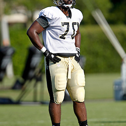 July 29, 2012; Metairie, LA, USA; New Orleans Saints rookie offensive tackle Marcel Jones (70) during a training camp practice at the team's practice facility. Mandatory Credit: Derick E. Hingle-US PRESSWIRE