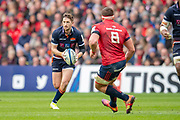 Henry Pyrgos (#9) of Edinburgh Rugby takes on CJ Stander (#8) of Munster Rugby during the Heineken Champions Cup quarter-final match between Edinburgh Rugby and Munster Rugby at BT Murrayfield Stadium, Edinburgh, Scotland on 30 March 2019.