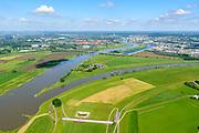 Nederland, Gelderland, Arnhem, 29-05-2019; IJsselkop, splitsing Nederrijn in Nederrijn naar Arnhem en IJssel. Arnhem in de achtergrond. Naast de IJsselkop ligt de Hondsbroeksche Pleij, voormalige uiterwaard, nu een van de Ruimte voor de Rivier lokaties.  Het Regelwerk draagt zorg voor de verdeling van het rivier water bij hoogwater.<br /> IJsselkop, junction Nederrijn in Nederrijn to Arnhem and IJssel. Next to the IJsselkop is the Hondsbroeksche Pleij, former flood plain, now one of the Room for the River locations. Highwater arrangment  is responsible for the distribution of river water at high water.<br /> <br /> luchtfoto (toeslag op standard tarieven);<br /> aerial photo (additional fee required);<br /> copyright foto/photo Siebe Swart