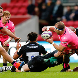 Stade's Loic Godener of Stade Francais attacks during the European Rugby Challenge Cup, Pool 4 match between Bristol Bears and Stade Francais Paris on December 7, 2019 in Bristol, United Kingdom. (Photo by Richard Lane/Icon Sport) - Ashton Gate - Bristol (Angleterre)