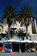 Market stalls and palm trees in front of section of old wall. Korcula old town, island of Korcual, Croatia