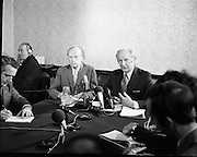 Erskine Childers- Nomination- Press Conference.<br /> 1973.<br /> 06.04.1973.<br /> 04.06.1973.<br /> 6th April 1973.<br /> Pictured at Fianna Fail Party Rooms in Leinster House,Dublin Mr Jack Lynch,leader of the Fianna Fail Party formally nominated Mr Erskine Childers TD as the preferred candidate of the party to run for the position of President of Ireland. Mr Childers accepted the nomination and at the press conference launched his election campaign.