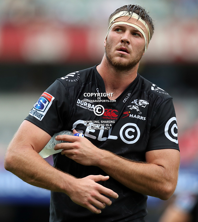 Stephan Lewies of the Cell C Sharks during the Super Rugby match between the Cell C Sharks and the Jaguares  April 8th 2017 - at Growthpoint Kings Park,Durban South Africa Photo by (Steve Haag)