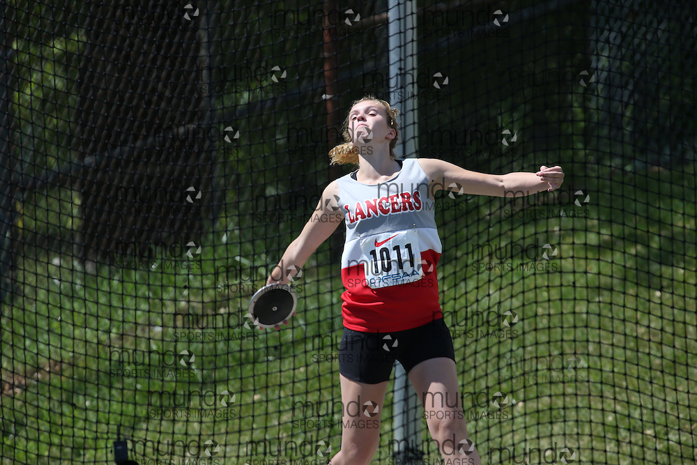Jory Fulcher of Lambton Central CVI - Petrolia competes in the junior girls discus at the 2013 OFSAA Track and Field Championship in Oshawa Ontario, Thursday,  June 6, 2013.<br /> Mundo Sport Images / Sean Burges