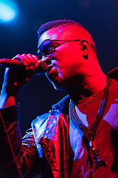 "© Licensed to London News Pictures. 01/05/2015. London, UK.   Shabazz Palaces performing live at Brixton Academy, supporting headliner Flying Lotus.  Shabazz Palaces are an American, Seattle-based experimental hip-hop group led by Ishmael Butler, aka Palaceer Lazaro (formerly Butterfly of jazz–hip hop group Digable Planets) and multi-instrumentalist Tendai ""Baba"" Maraire Photo credit : Richard Isaac/LNP"