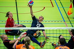 28-04-2018 NED: NK Zitvolleybal, Koog aan de Zaan<br /> BVC Holyoke wint de finale van het NK zitvolleybal met 3-1 van V.a.s. F.D.S uit Sneek. / Jacob Hoeksma #12 of Sneek