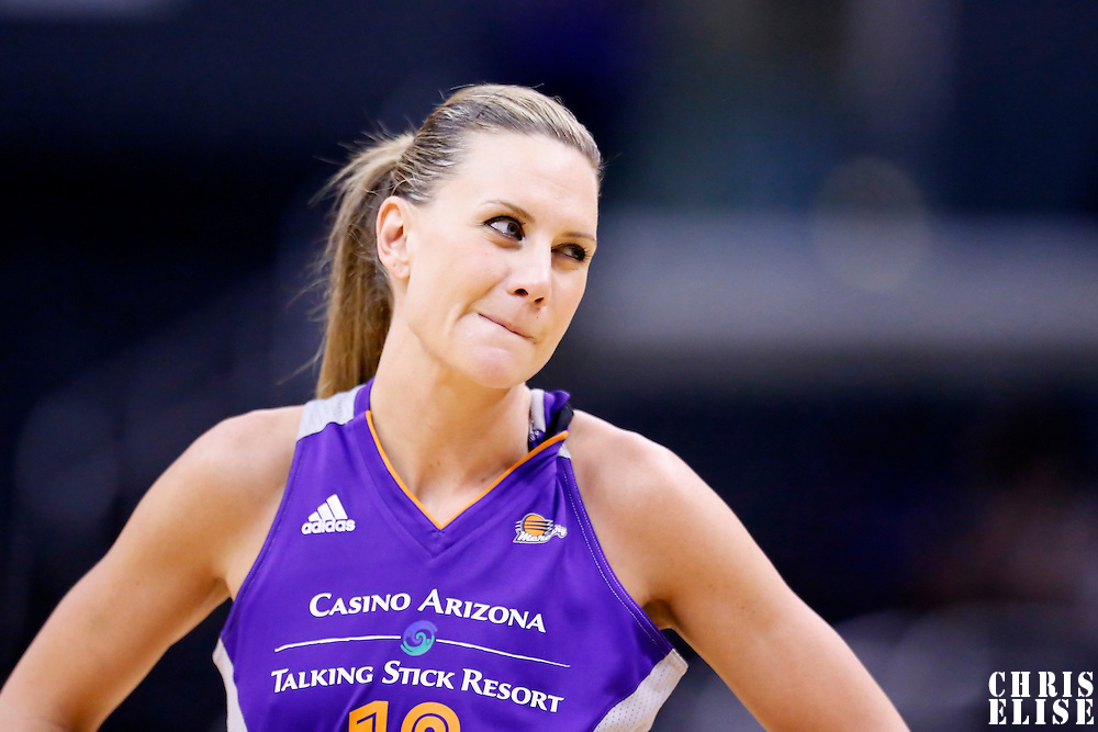 24 July 2014: Phoenix Mercury forward Penny Taylor (13) rests during the Phoenix Mercury 93-73 victory over the Los Angeles Sparks, at the Staples Center, Los Angeles, California, USA.