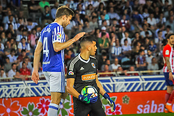 April 19, 2018 - San Sebastian, Spain - Geronimo Rulli and Illarramendi of Real Sociedad during the Spanish league football match between Real Sociedad and Atletico Madrid at the Anoeta Stadium on 19 April 2018 in San Sebastian, Spain  (Credit Image: © Jose Ignacio Unanue/NurPhoto via ZUMA Press)