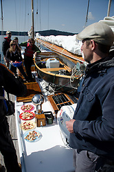 Captain Kevin Surveys Lunch Aboard Orion Somewhere in the San Juan Islands, Washington, US