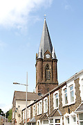 Christ Church and terraced housing, Ebbw Vale, Blaenau Gwent, South Wales, UK