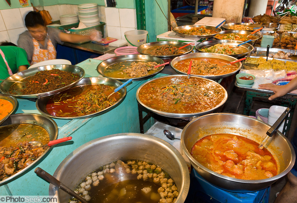 Steel bowls of fast food in Bangkok, Thailand