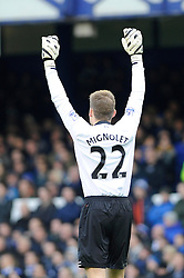 Liverpool's Simon Mignolet - Photo mandatory by-line: Dougie Allward/JMP - Tel: Mobile: 07966 386802 23/11/2013 - SPORT - Football - Liverpool - Merseyside derby - Goodison Park - Everton v Liverpool - Barclays Premier League