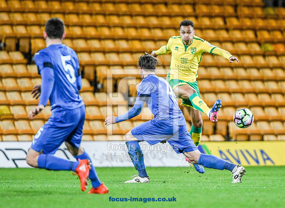 Joshua Murphy on the ball for Norwich City U23 v Dinamo Zagreb U23 during the Premier League International Cup Quarter-Final match at Carrow Road, Norwich<br /> Picture by Matthew Usher/Focus Images Ltd +44 7902 242054<br /> 27/02/2017