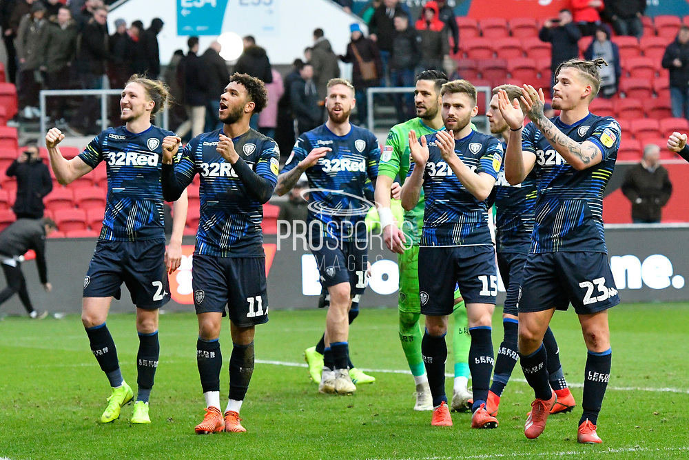 Leeds United players applaud the Leeds fans at full time after a 1-0 win over Bristol City during the EFL Sky Bet Championship match between Bristol City and Leeds United at Ashton Gate, Bristol, England on 9 March 2019.