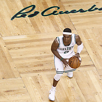 03 June 2012: Boston Celtics point guard Rajon Rondo (9) looks to pass the ball during the Boston Celtics 93-91 overtime victory over the Miami Heat, in Game 4 of the Eastern Conference Finals playoff series, at the TD Banknorth Garden, Boston, Massachusetts, USA.