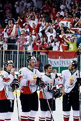 Hungarian players at IIHF Ice-hockey World Championships Division I Group B match between National teams of Hungary and Slovenia, on April 23, 2010, in Tivoli hall, Ljubljana, Slovenia. Slovenia defeated Hungary 4:1. (Photo by Matic Klansek Velej / Sportida)